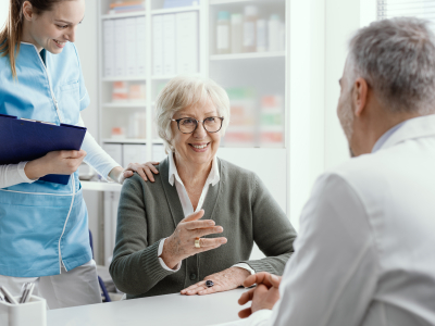 senior woman talking with the doctor